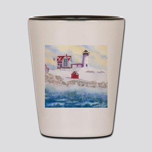 Nubble Lighthouse in Winter Shot Glass