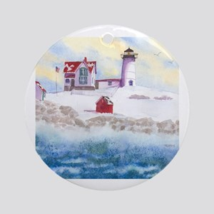 Nubble Lighthouse in Winter Round Ornament