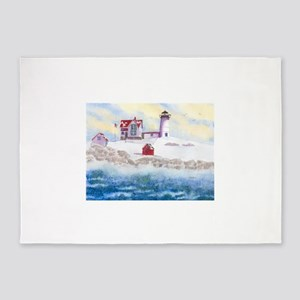 Nubble Lighthouse in Winter 5'x7'Area Rug