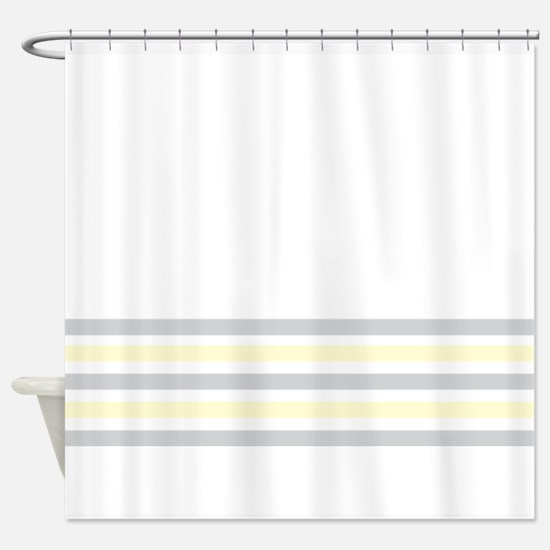 Gray and Yellow Bottom Stripe Shower Curtain