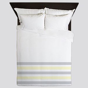 Gray and Yellow Bottom Stripe Queen Duvet