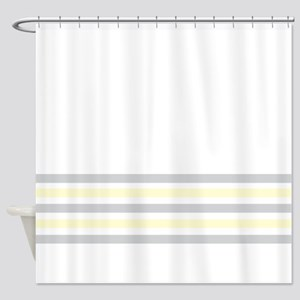Gray and Yellow Stripes Shower Curtain