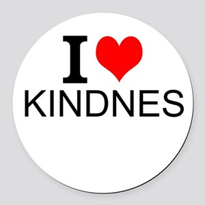 I Love Kindness Round Car Magnet