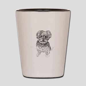 """Yorkshire Terrier"" by M. Nicole van Da Shot Glass"