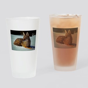 Coyote relaxing in the snow Drinking Glass