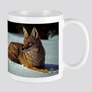Coyote relaxing in the snow Mugs
