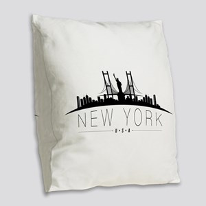 New York Burlap Throw Pillow