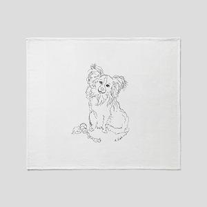 """Playful Papillion"" dog Throw Blanket"