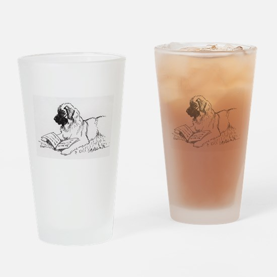 """Leonberger Dog Reading"" Drinking Glass"