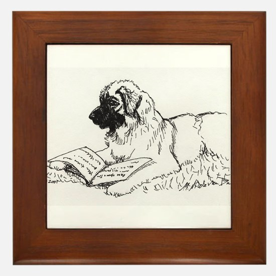 """Leonberger Dog Reading"" Framed Tile"