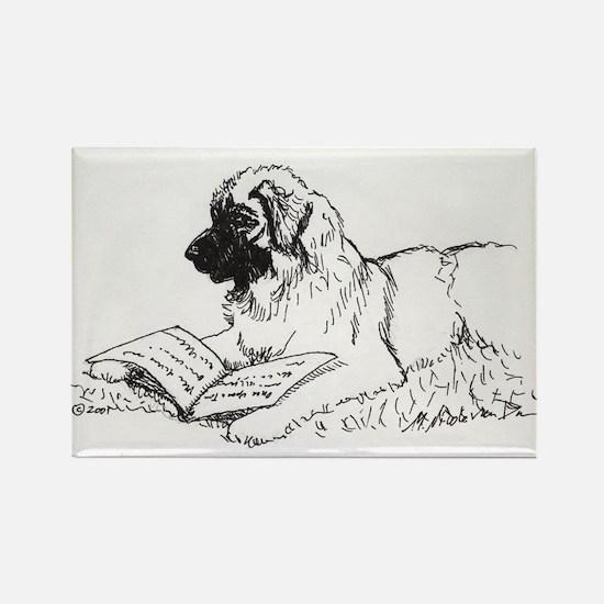 """""""Leonberger Dog Reading"""" Rectangle Magnet"""