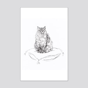 """""""Maine Coon"""" Tabby cat Mini Poster Print"""