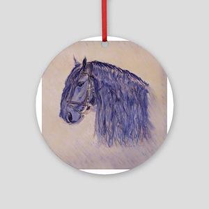Friesian Horse Ornament (Round)