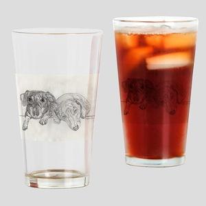 """Dachshunds"" by M. Nicole van Dam Drinking Glass"