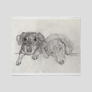 """Dachshunds"" by M. Nicole van Dam Throw Blanket"
