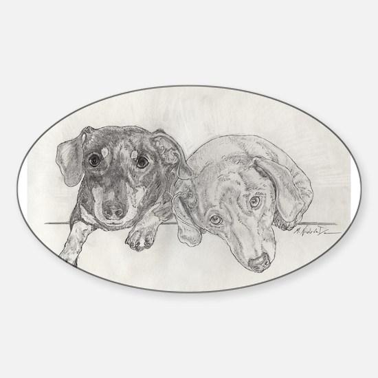 """Dachshunds"" by M. Nicole van Dam Sticker (Oval)"