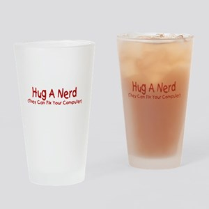 Hug A Nerd Drinking Glass