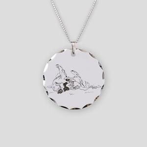 """Happy Feet"" Leonberger Dog Necklace Circle Charm"