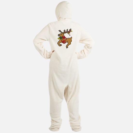 Pretty Flying Reindeer Footed Pajamas