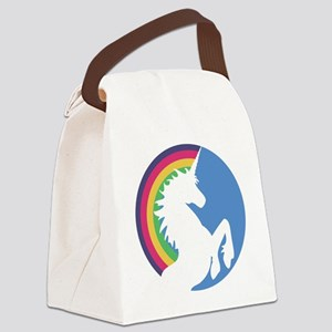 Retro Unicorn and Rainbow Canvas Lunch Bag