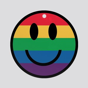 Rainbow Smiley Face Round Ornament