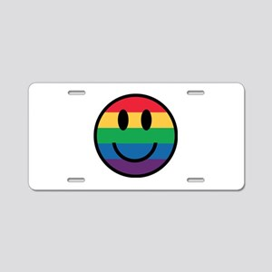 Rainbow Smiley Face Aluminum License Plate