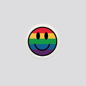 Rainbow Smiley Face Mini Button