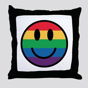 Rainbow Smiley Face Throw Pillow