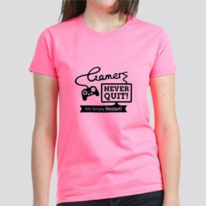 Gamers Never Quit Funny Quote T-Shirt