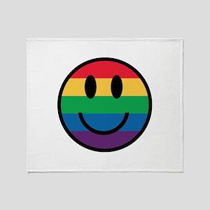 Rainbow Smiley Face Throw Blanket