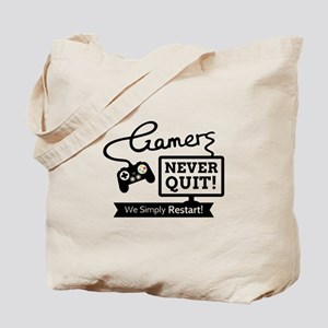 Gamers Never Quit Funny Quote Tote Bag