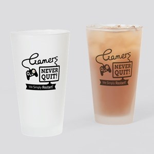 Gamers Never Quit Funny Quote Drinking Glass