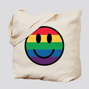 Rainbow Smiley Face Tote Bag