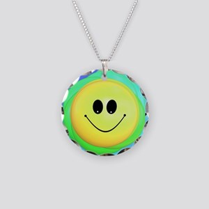 Smiley Face Rainbow Pattern Necklace Circle Charm