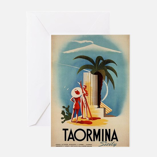 Vinatge Taormina Tourism Poster Greeting Cards