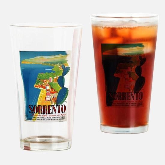 Vintage Sorrento Tourism Poster Drinking Glass