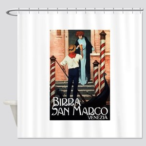 Vintage Italiano Birra Advertisement Shower Curtai