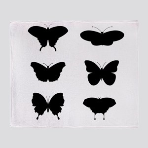 Black and White Butterflies Throw Blanket