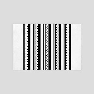 Black and White Stripes Dots 4' x 6' Rug