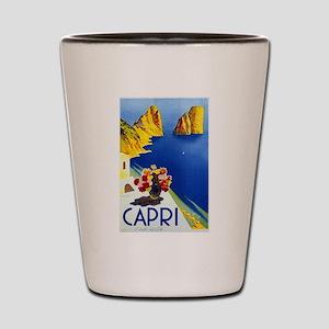 Vinatge Capri Tourism Poster Shot Glass