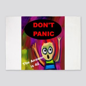 Don't Panic - The Answer is 42 5'x7'Area Rug