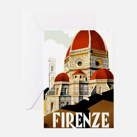 Vintage Firenze Italy Tourism Poster Greeting Card