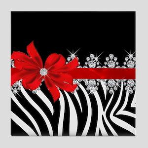 Zebra (red) Tile Coaster