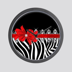 Zebra (red) Wall Clock