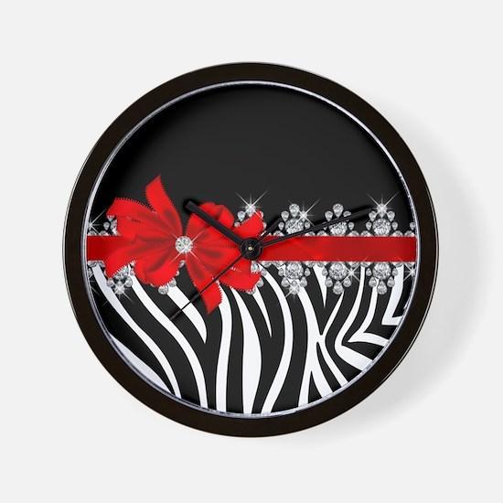 Zebra (red) Wall Clock