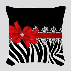 Zebra (red) Woven Throw Pillow