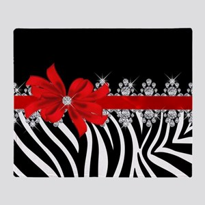 Zebra (red) Throw Blanket