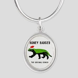 Honey Badger, The Original Gr Silver Oval Necklace