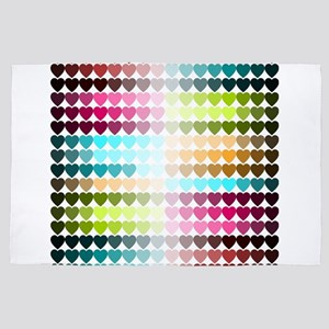 Colorful Hearts Love St.Valentines Rom 4' x 6' Rug