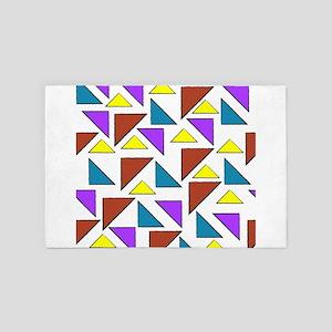 Colorful Vintage Retro Grunge Triangle 4' x 6' Rug